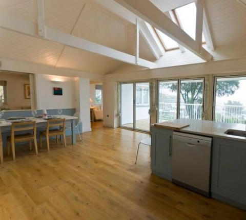 kitchen/dining area at Tomhara, a Rock holiday cottage from Latitude 50, Cornwall