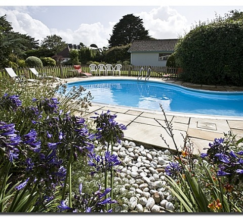 outdoor heated pool at Half-way Tree, Rock holiday cottage