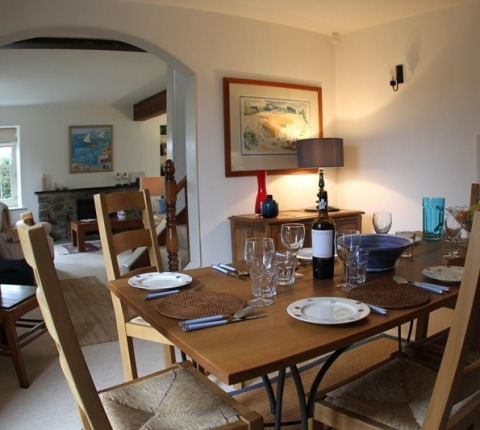 Dining area at May's Cottage, a luxury Port Isaac holiday cottage within the Latitude 50 offer