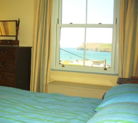 Master bedroom, with a view, at 1 Pentire View, Polzeath